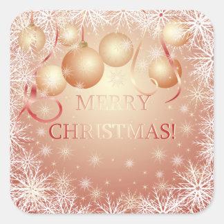 Flocos de neve & bolas douradas do Natal no Adesivo Quadrado
