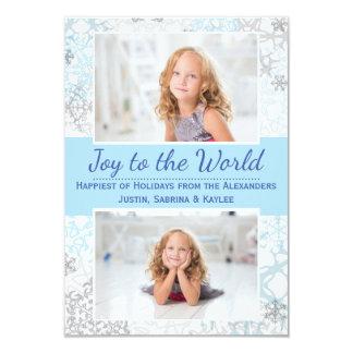 Flocos de neve brancos/azuis 2 fotos - cartão