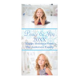 Flocos de neve brancos/azuis 2 fotos - cartão com cartão com foto