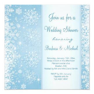 Flocos de neve brancos no chá de casamento azul convites