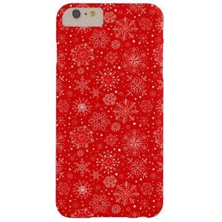 Flocos de neve brancos no vermelho do Natal Capa Barely There Para iPhone 6 Plus