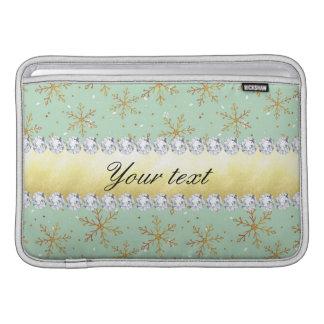 Flocos de neve chiques e diamantes do ouro verdes capas para MacBook air