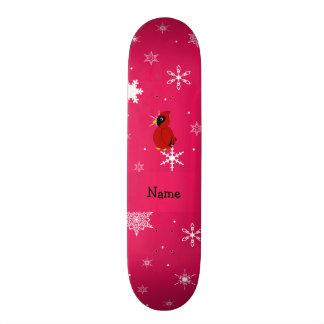 Flocos de neve cor-de-rosa cardinais conhecidos pe shape de skate 18,4cm