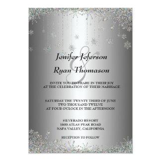 Flocos de neve de prata do brilho que wedding o convite 12.7 x 17.78cm