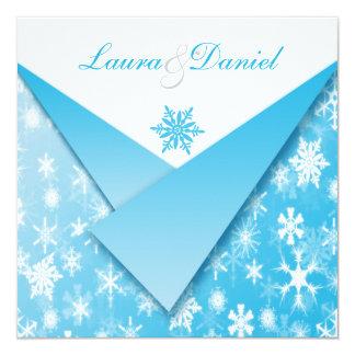 Flocos de neve dos azul-céu e do branco que convite quadrado 13.35 x 13.35cm