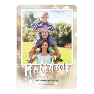 Flocos de neve e cartão brilhante do feriado das