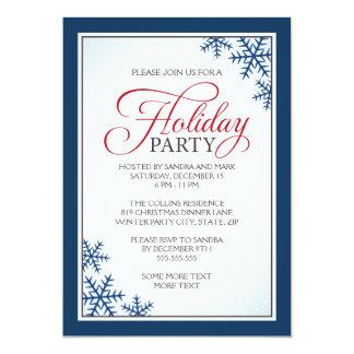 Flocos de neve e festa natalícia azuis elegantes convites personalizados