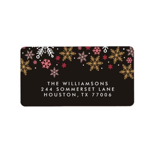 Flocos de neve elegantes etiquetas personalizadas etiqueta de endereço