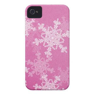 Flocos de neve femininos do rosa e do White Capa Para iPhone 4 Case-Mate