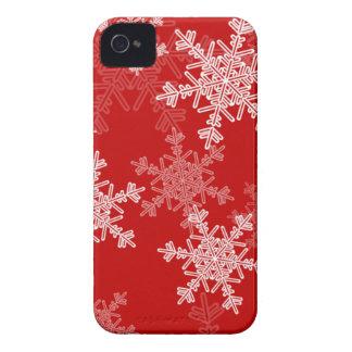 Flocos de neve femininos do vermelho e do White Capas Para iPhone 4 Case-Mate