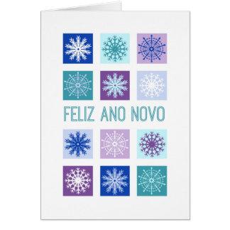 Flocos de neve modernos do feliz ano novo cartão comemorativo