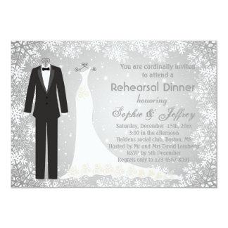 Flocos de neve no jantar de ensaio cinzento do convite personalizados