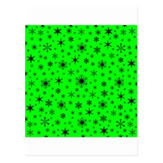Flocos de neve - preto no verde elétrico cartao postal