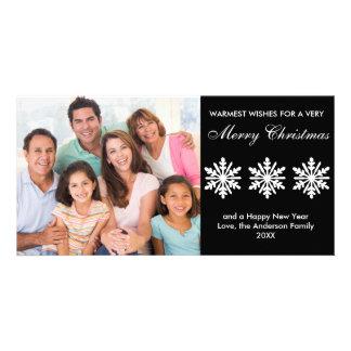 Flocos de neve pretos/brancos - cartão com fotos cartão com foto