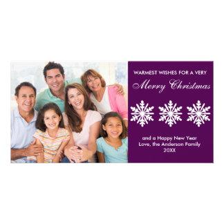 Flocos de neve roxos - cartão com fotos cartão com foto