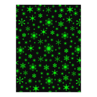 Flocos de neve - verde elétrico no preto convites
