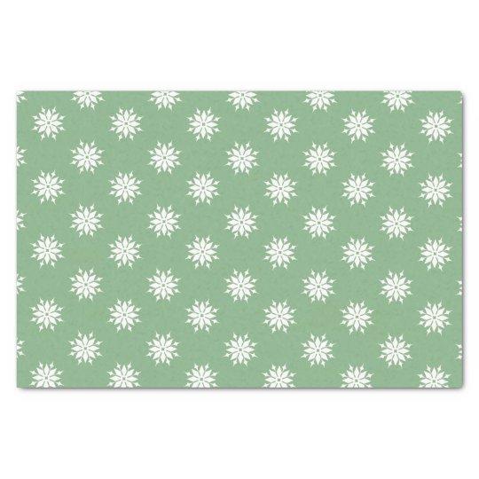 Flocos de neve verdes do branco do Natal Papel De Seda
