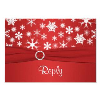 Flocos de neve vermelhos e brancos que Wedding o Convite Personalizados