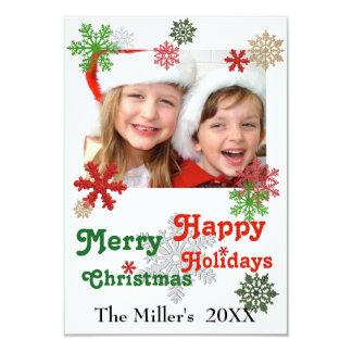 flocos do brilho do Feliz Natal 3x5 boas festas Convite 8.89 X 12.7cm
