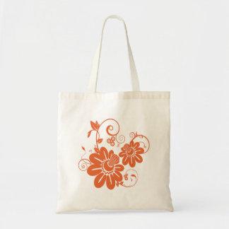 Flor alaranjada bolsa para compras