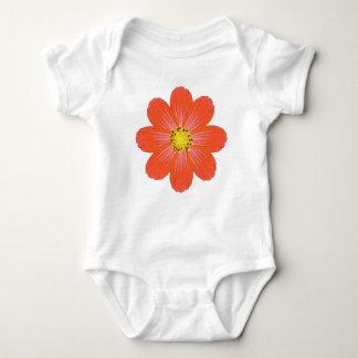 Flor alaranjada brilhante do bebê body para bebê