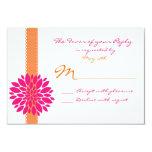 Flor alaranjada do rosa da fita que Wedding Convites Personalizado