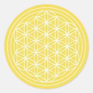 Flor amarela da etiqueta da vida