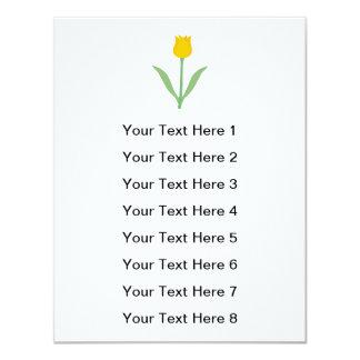 Flor amarela da tulipa convite 10.79 x 13.97cm