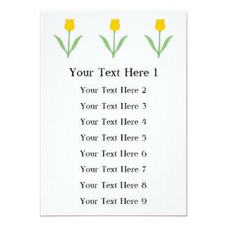 Flor amarela da tulipa convite 12.7 x 17.78cm