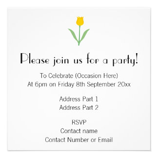 Flor amarela da tulipa convites personalizados