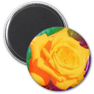 Flor amarela, ímã do fundo de Colorfull Ímã Redondo 5.08cm