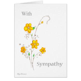 Flor amarela lunática com cartão de simpatia