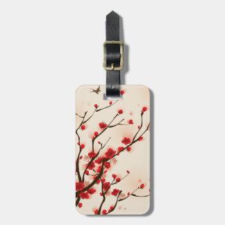 Flor asiática da ameixa da pintura do estilo no etiqueta de bagagem