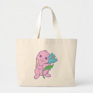 Flor bonito do coelho de coelho dos desenhos anima bolsas para compras