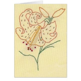Flor bordada do lírio de tigre cartão