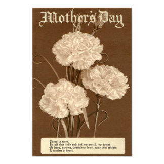 Flor branca da peônia do poema do dia das mães do impressão de foto