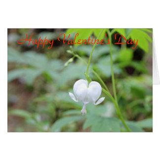 Flor branca do coração de sangramento do feliz dia cartão