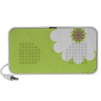 Flor branca e esverdeado animadora caixinhas de som para pc