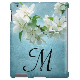 Flor branca no caso do monograma IPAD do céu azul Capa Para iPad