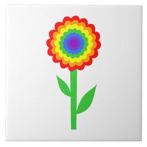 Flor colorida em cores do arco-íris azulejo de cerâmica