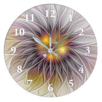 Flor colorida luminosa, Fractal moderno abstrato Relógio Grande