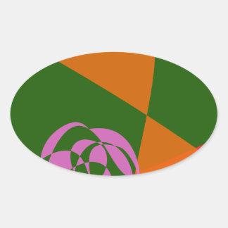 Flor cor-de-rosa abstrata adesivos em formato oval