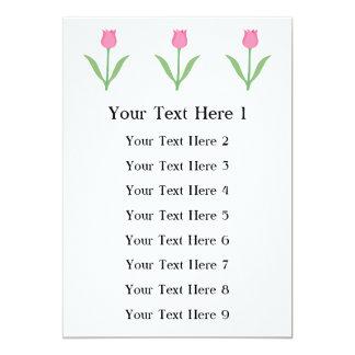 Flor cor-de-rosa bonito da tulipa convite 12.7 x 17.78cm