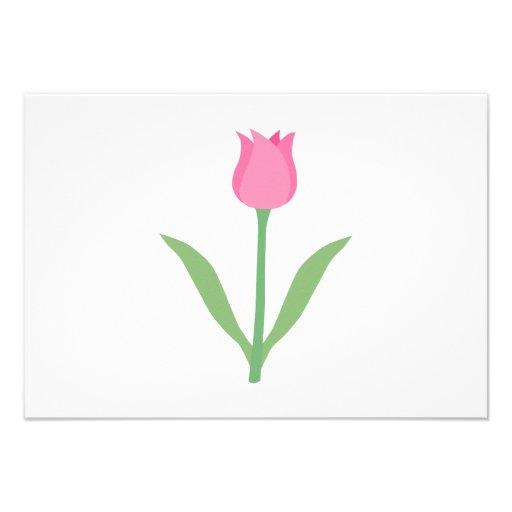 Flor cor-de-rosa bonito da tulipa convites personalizado