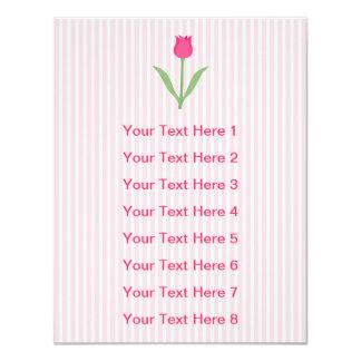 Flor cor-de-rosa bonito da tulipa convite 10.79 x 13.97cm