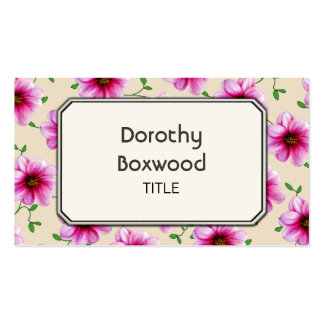 Flor cor-de-rosa botânica floral do jardim cartão de visita