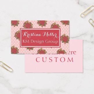 Flor cor-de-rosa & cartão de visita bonito das