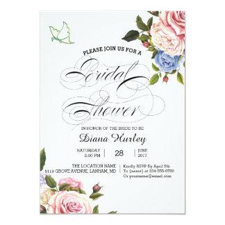 Flor cor-de-rosa da aguarela floral do cartão do