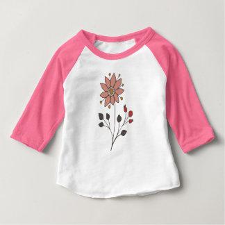 Flor cor-de-rosa da margarida do doodle camiseta para bebê