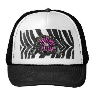 Flor cor-de-rosa na zebra boné
